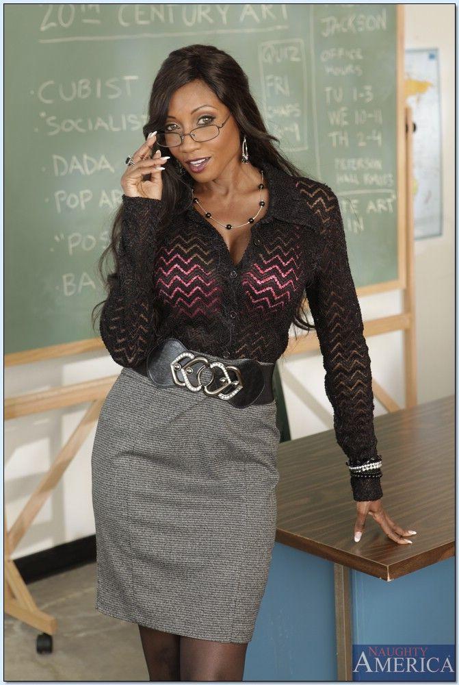 Busty Black Teacher Gets Naked