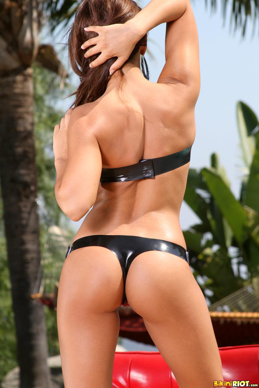 Madison Ivy - Black Latex Tube Top Bikini 4398-2222
