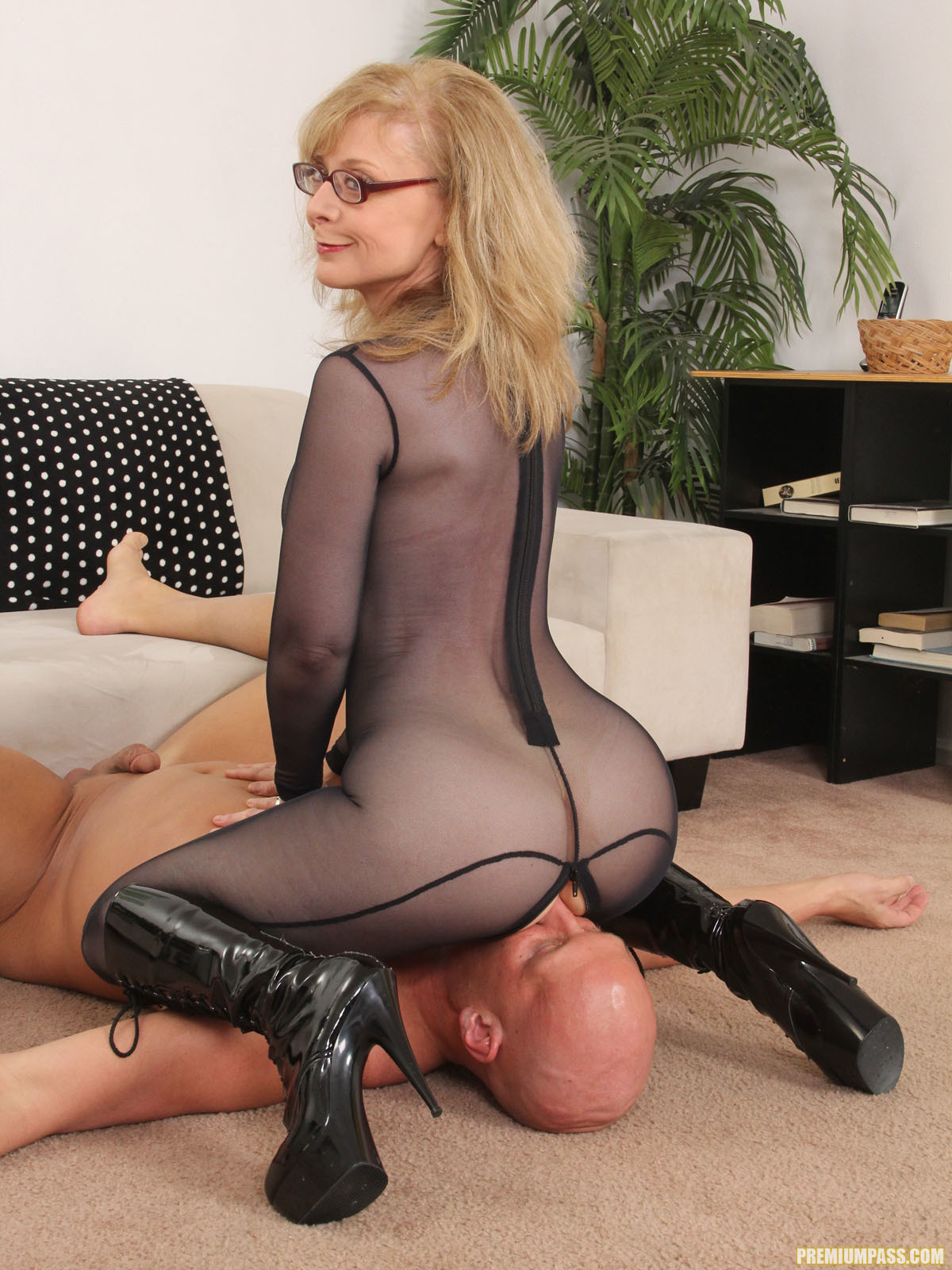 Facesitting pussy smother nylon stockings 4