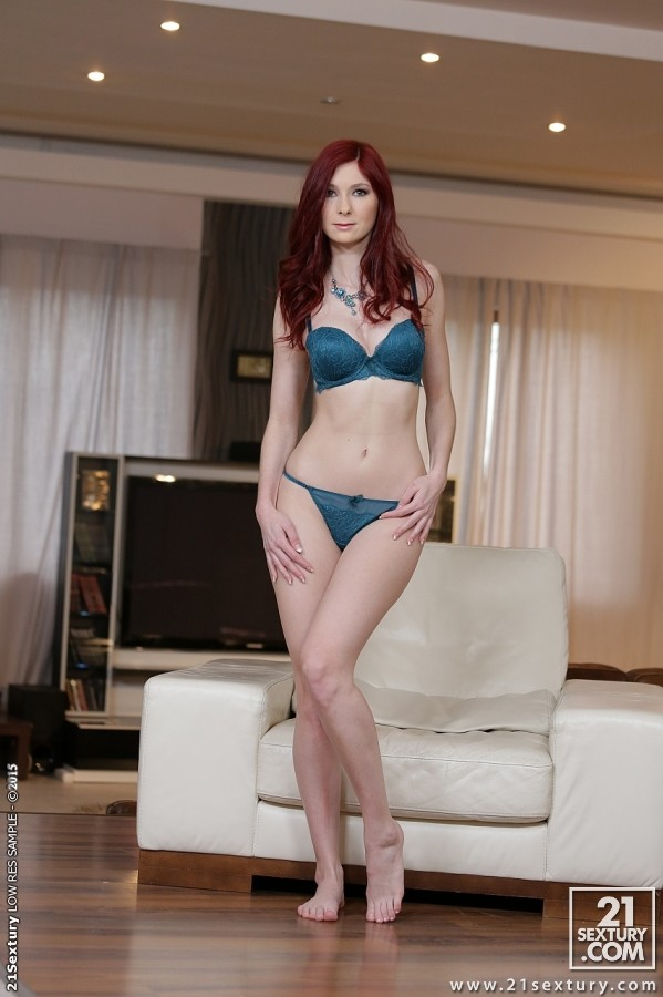Redhead solo babe Kattie Gold goes barefoot while spreading pussy  1366882