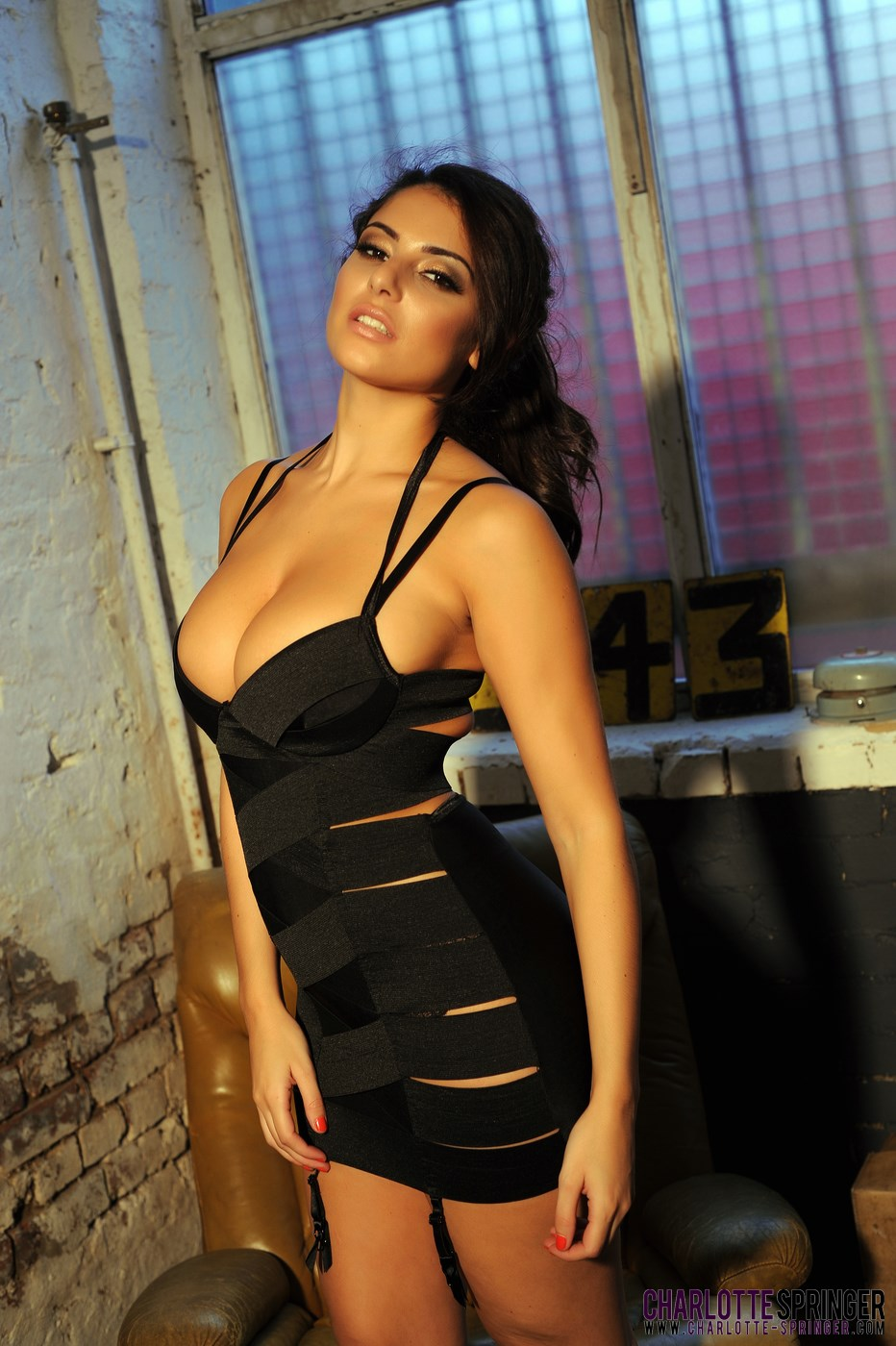 Sexy Black Dress - Charley S teasing in her sexy tight black dress and lingerie ...