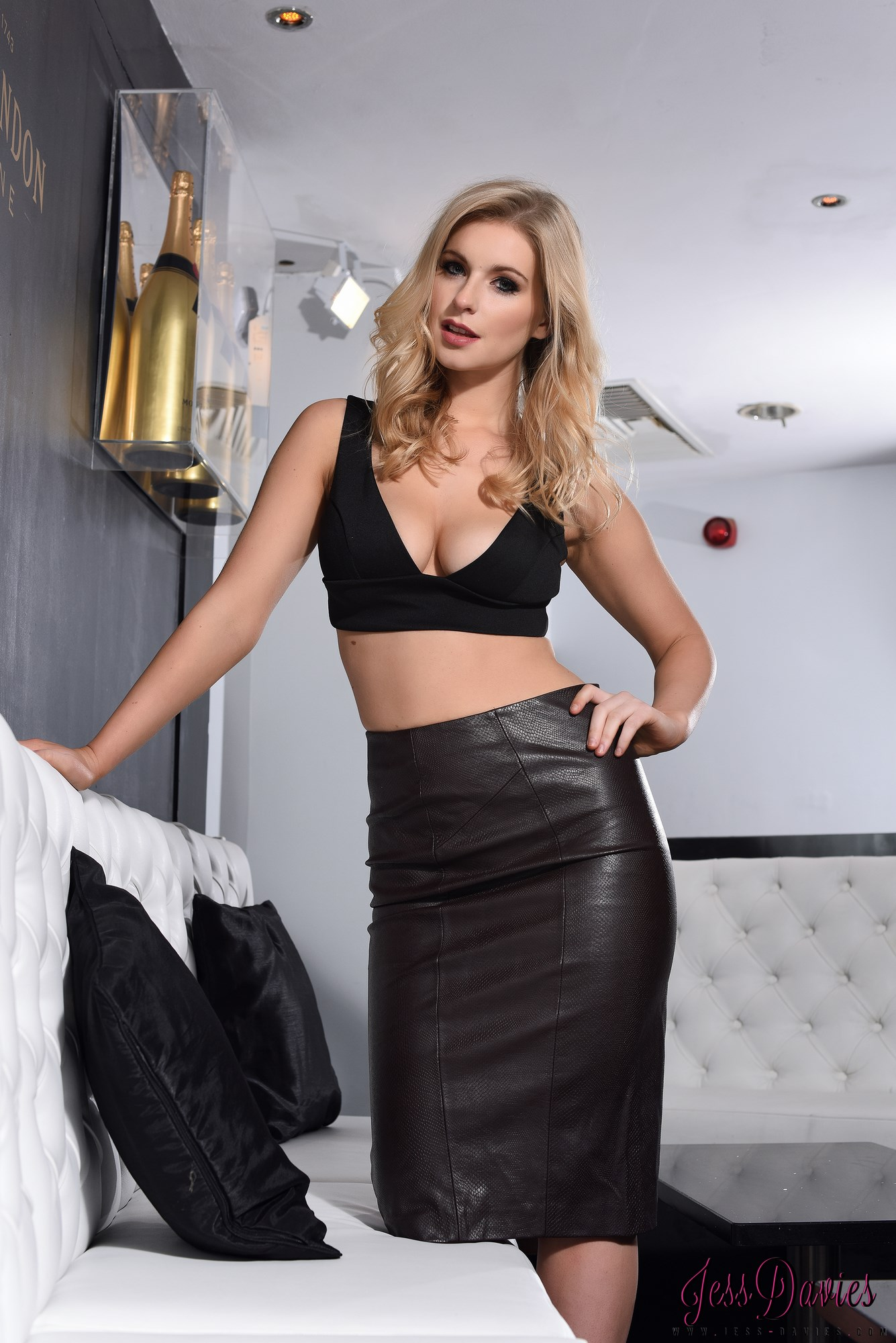 Jess Davies Teasing In Her Black Leather Skirt And Top 64349-8760