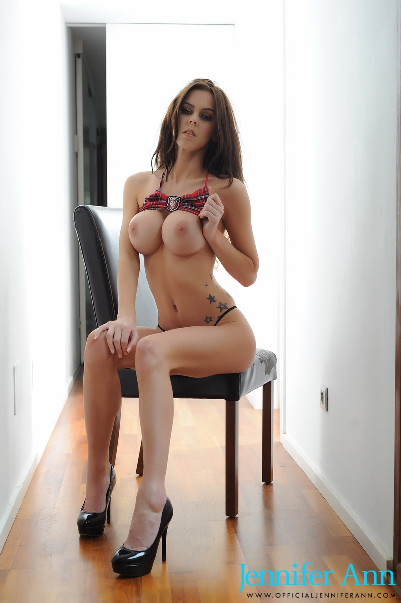 Jennifer Teasing In Scottish Plaid Skirt And Thong 64525-9036