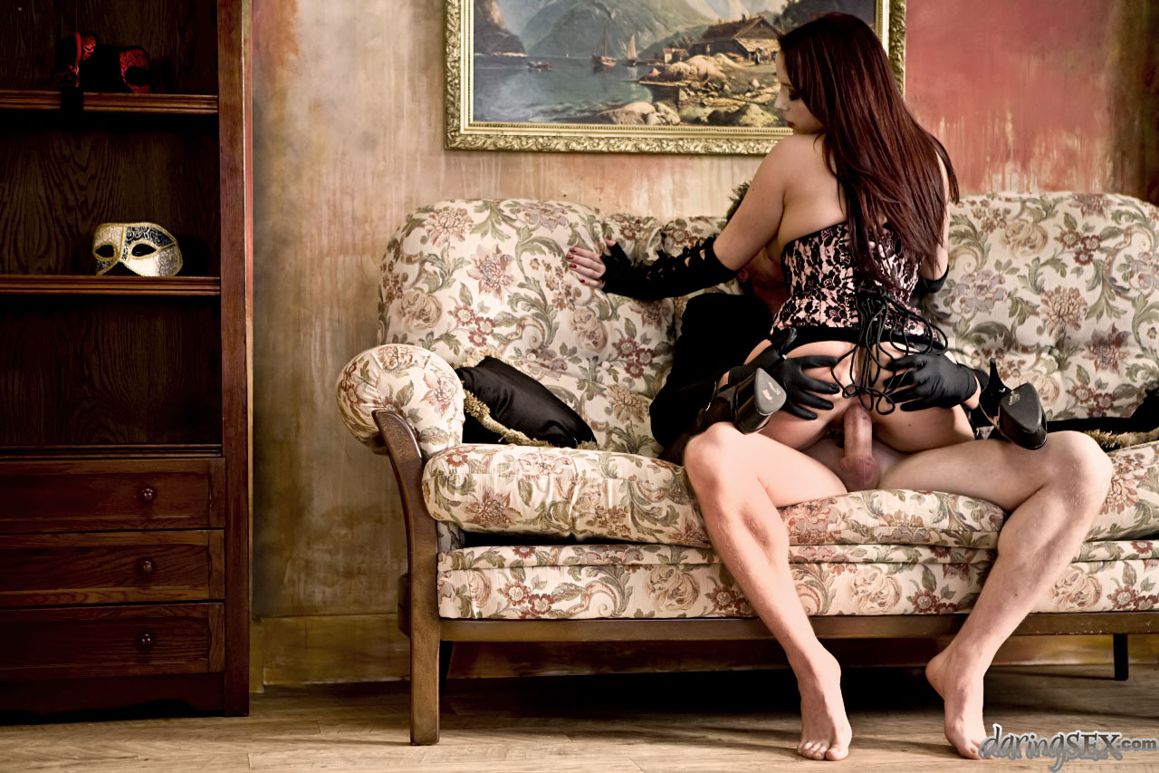Classy babe in lingerie riding cock