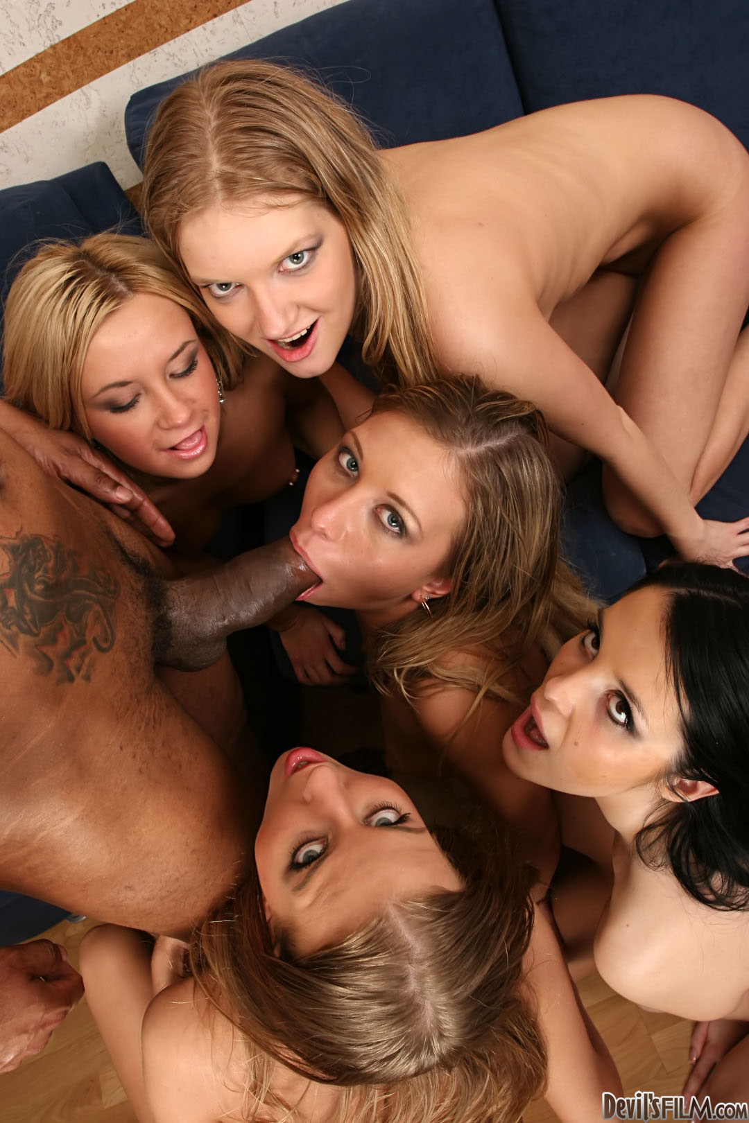Orsolya, Clarisse And Jessica Road Share A Stud For A Reverse Gangbang