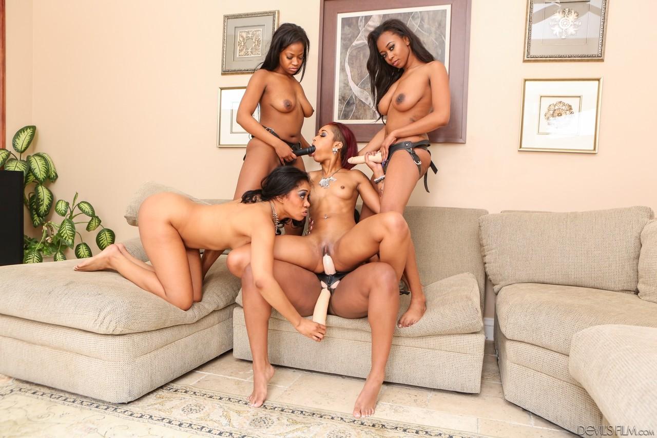 Ebony Teen Lesbian Orgy