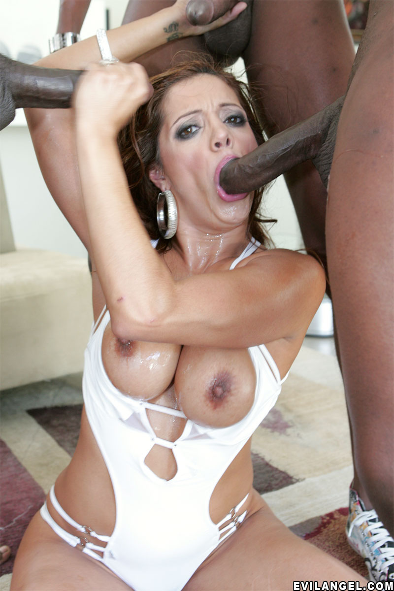 Francesca le interracial gangbang