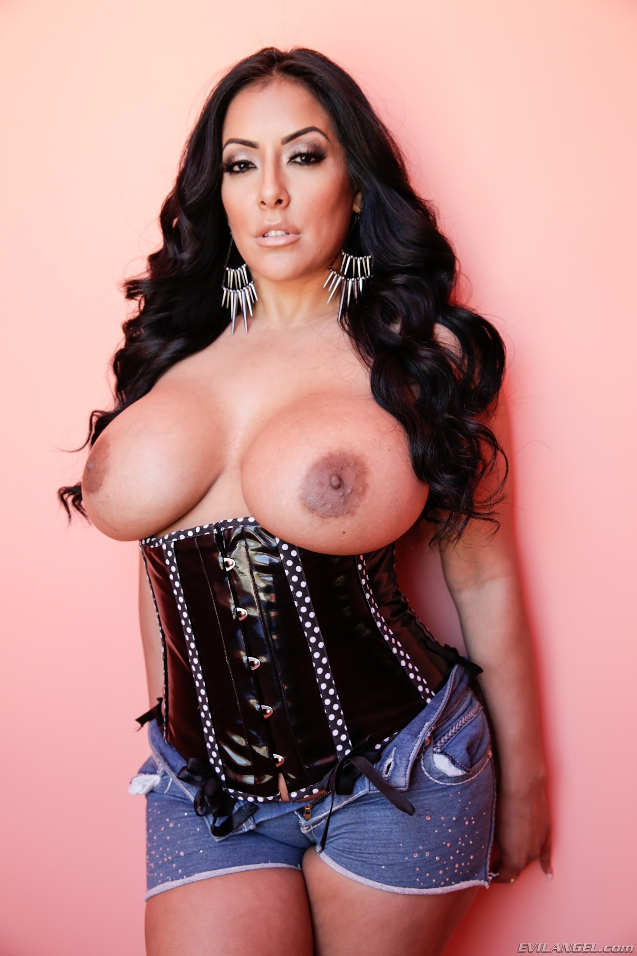 Curvy latin huge boobs putting dildo 8