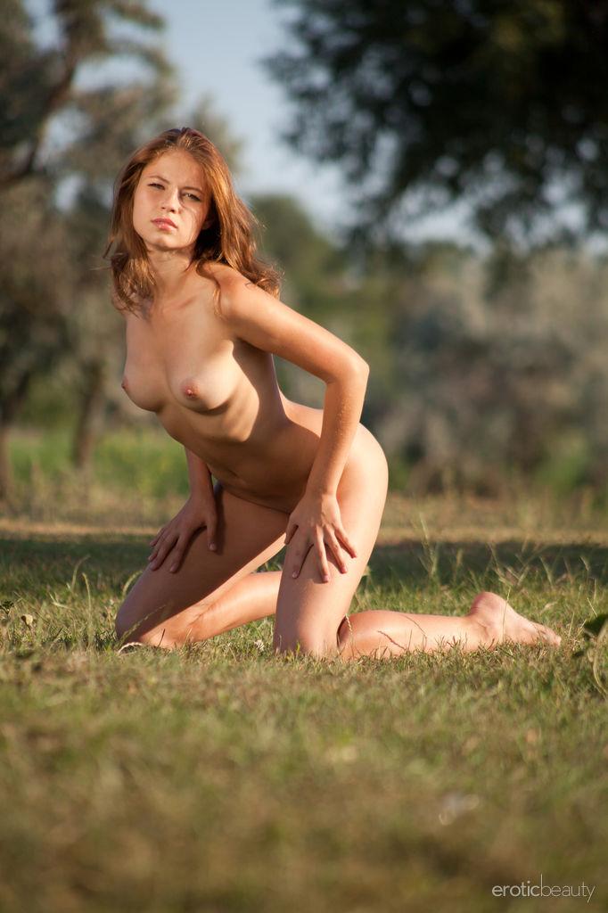 Erotic outdoor sex photo featuring sensual brunette hottie