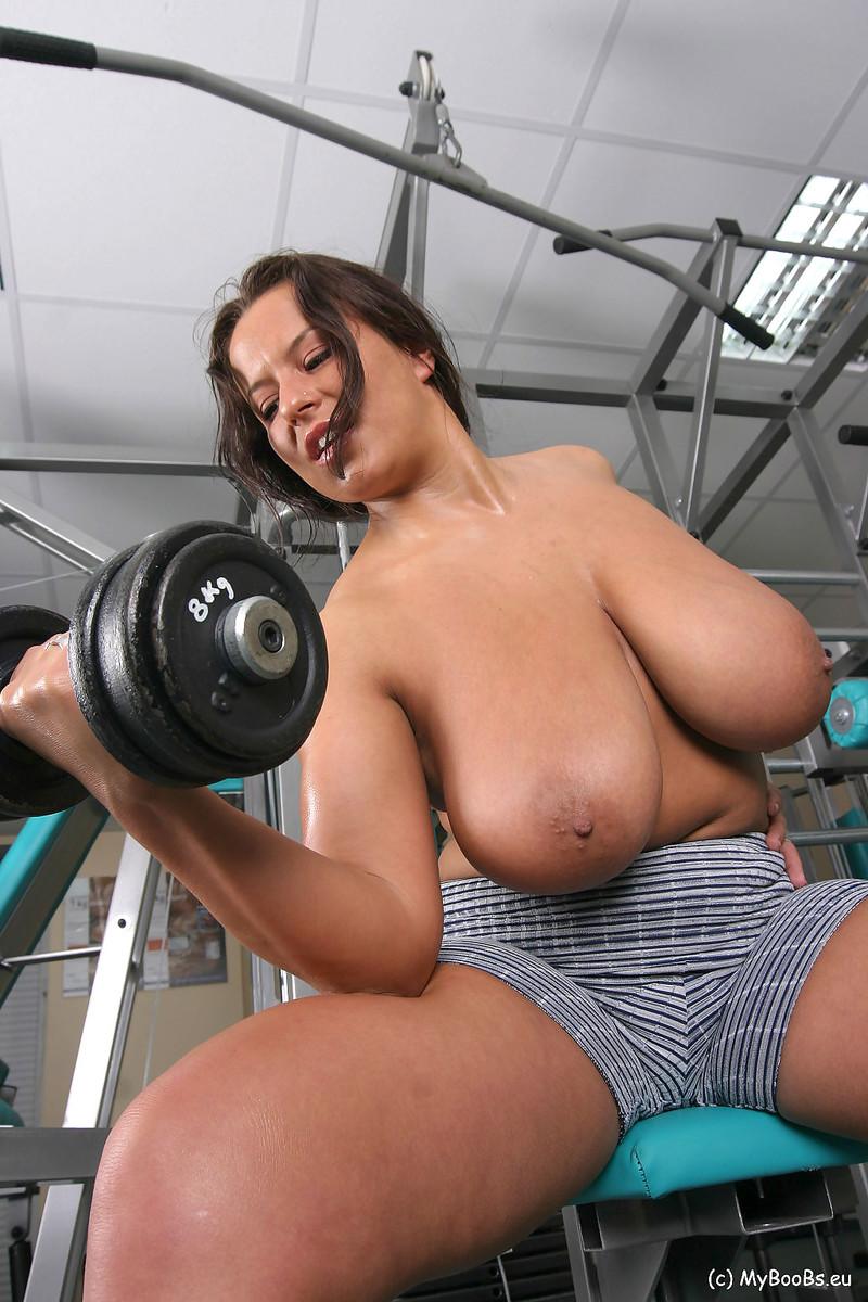 Topless gym girls big boobs