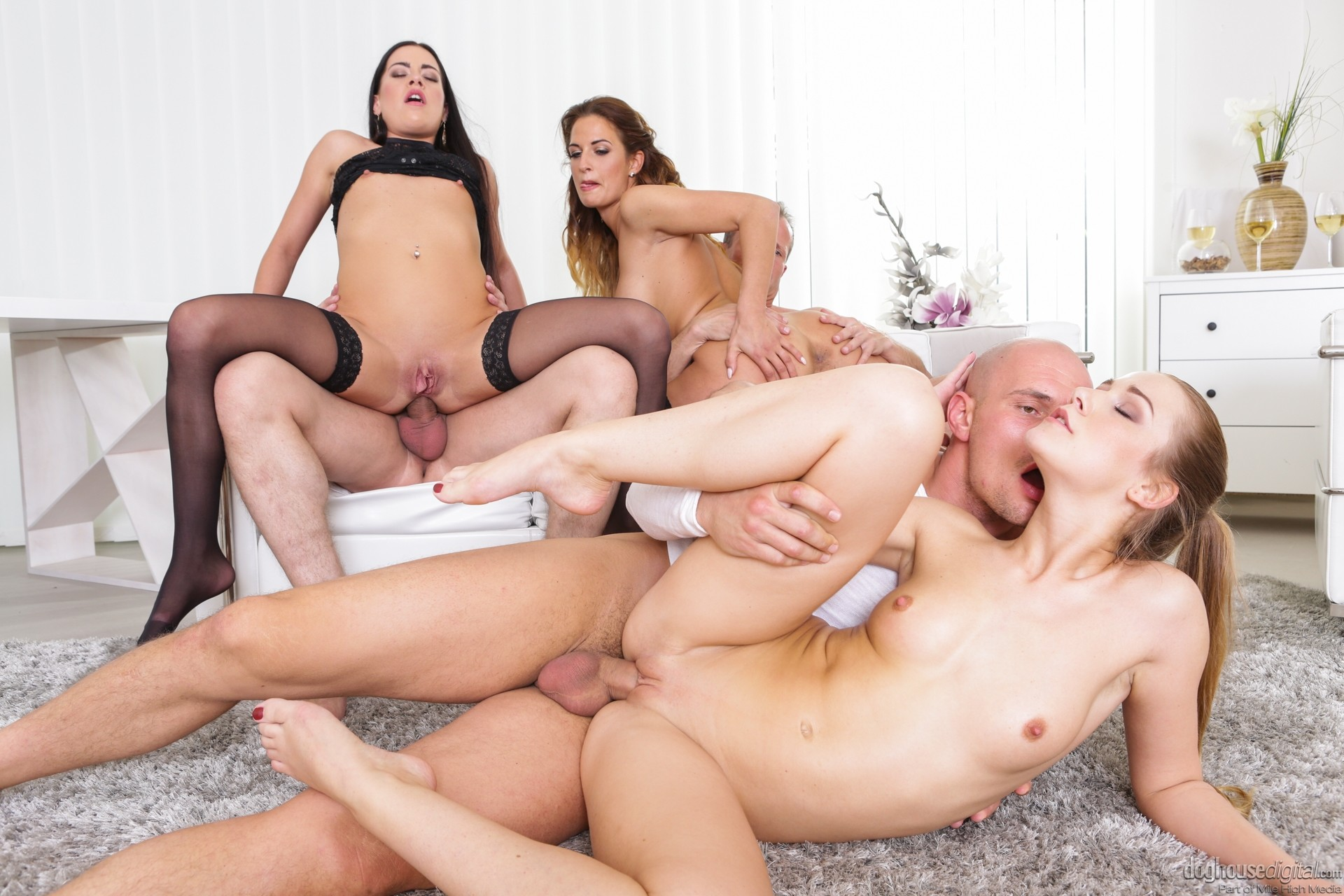 Lesbian group sex with four horny young girls that love eating pussy