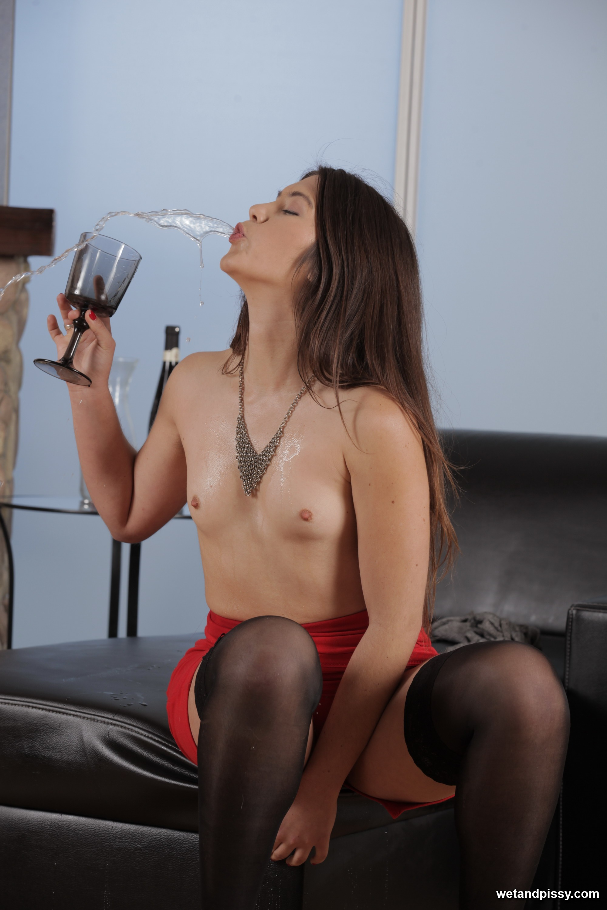 Stunning Brunette With Hairy Pussy Pisses - Wet And Pissy -2794