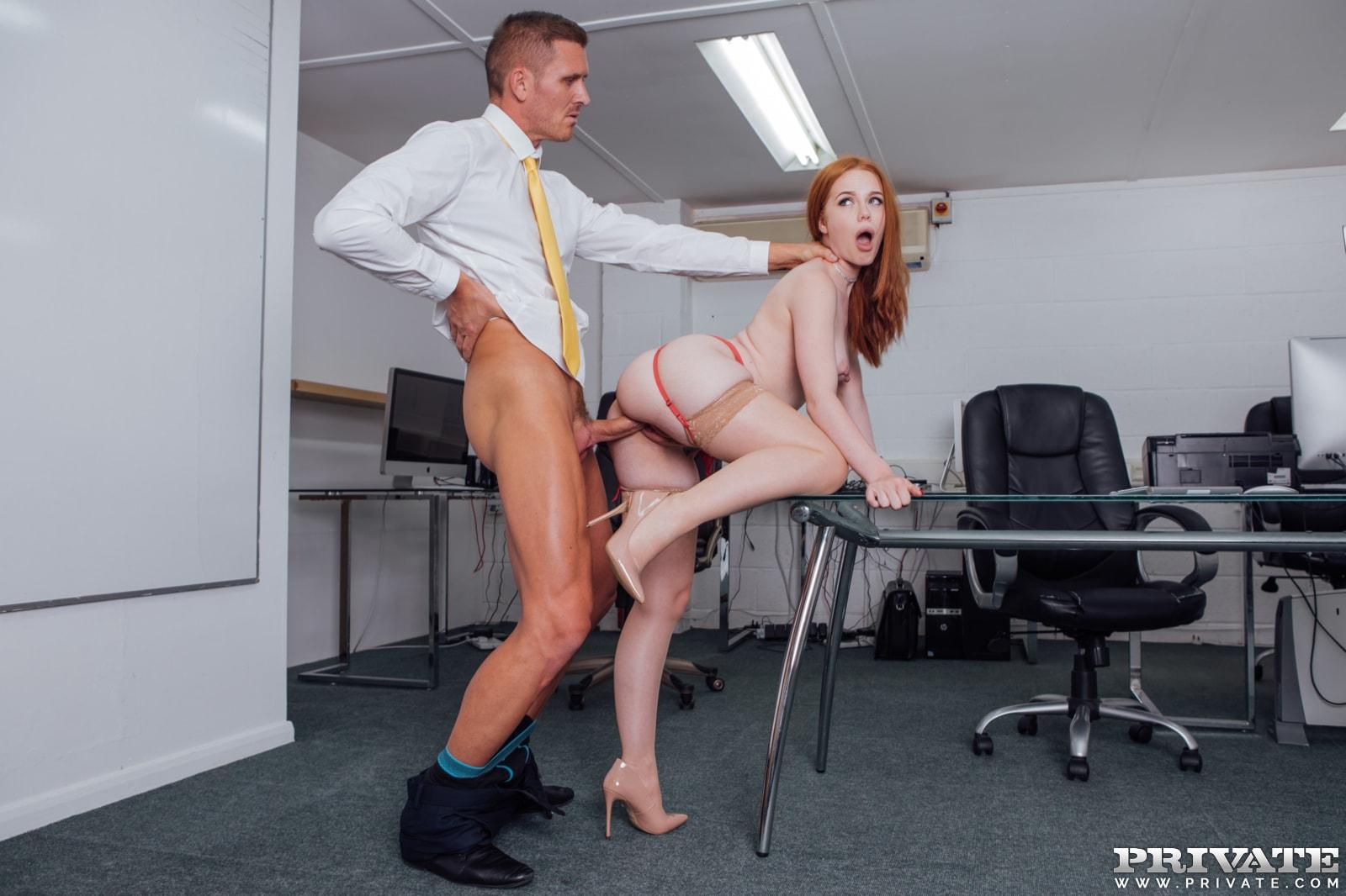Married redhead fucks boss — photo 7
