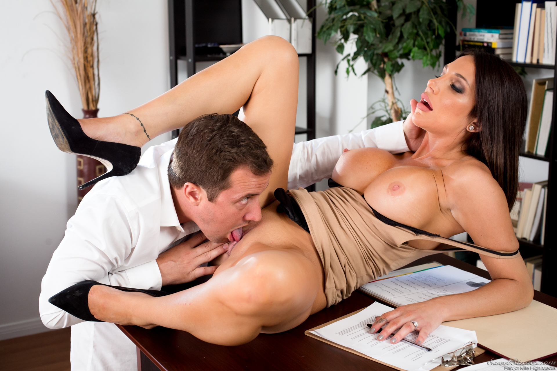 Business woman pussy licked, safe sex awareness