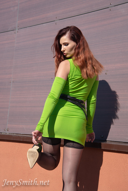 Jeny Smith - Classic black stockings upskirt 140386