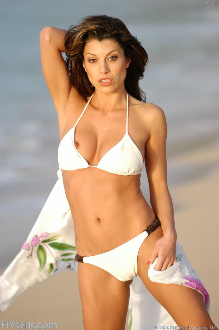 Girl taking off her bikini