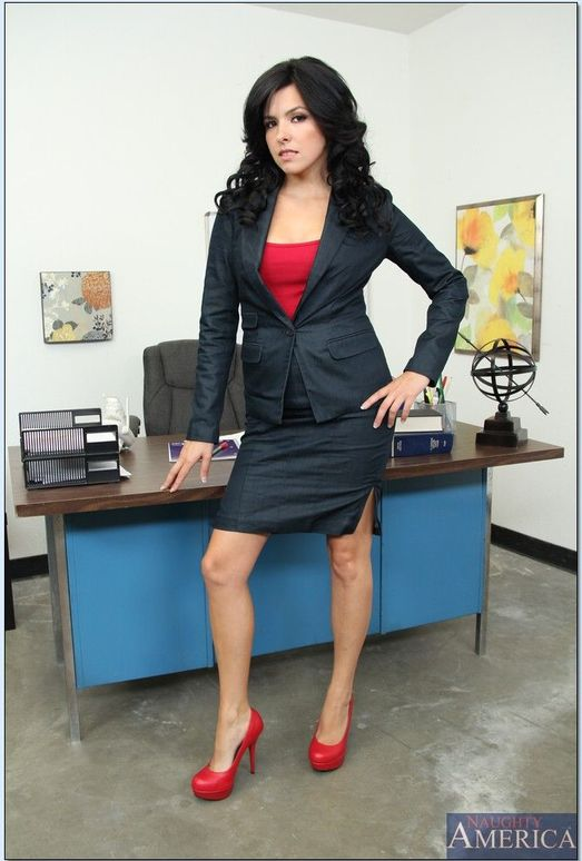 Chesty office worker Danica Dillon letting large all natural juggs loose  388621