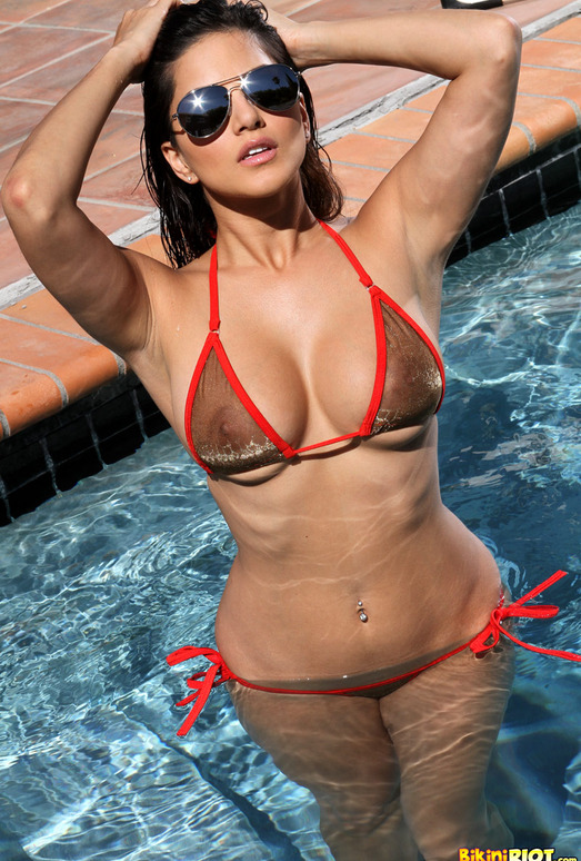 Sunny Leone - Sheer Gold & Red Bikini in the Pool