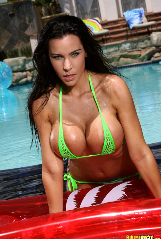 Laura Lee - Green Fishnet Bikini and Red Raft
