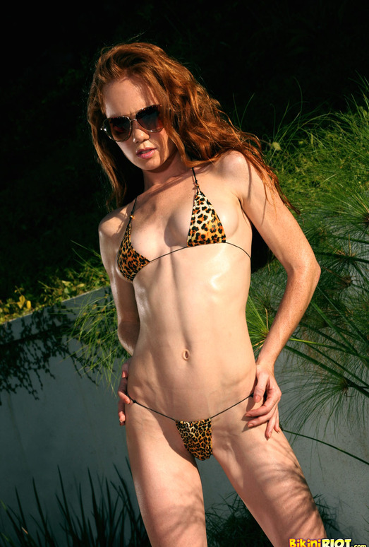 Heather Carolin - Tiny Leopard Thong Bikini