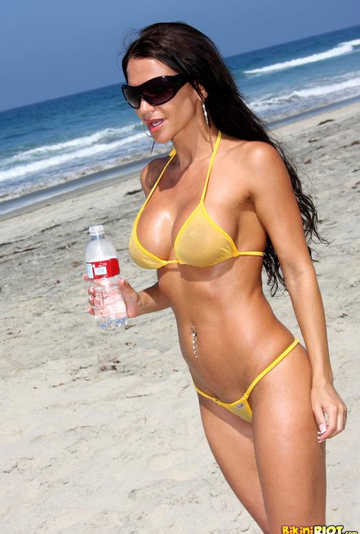Rebecca Rayann - Sheer Gold Bikini at the Beach
