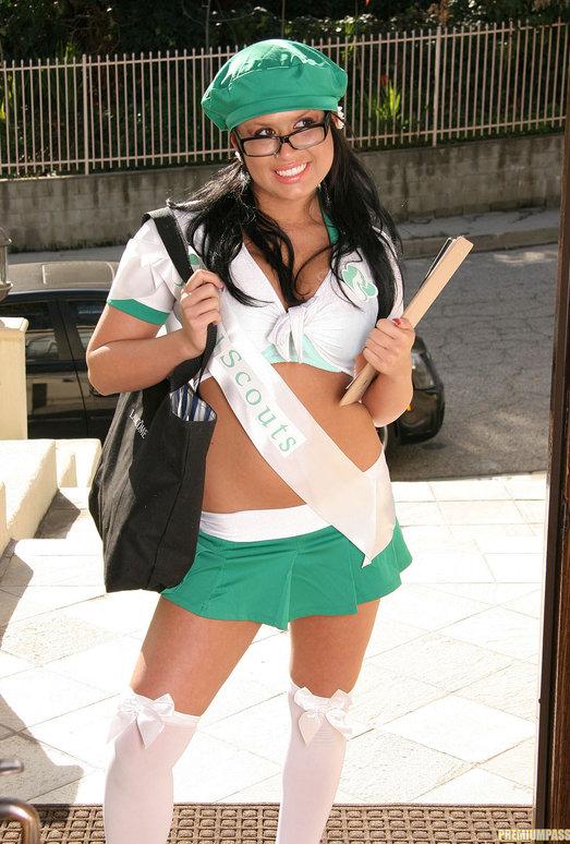 Eva Angelina Goes Door-to-Door in the Bad Girl Skirt