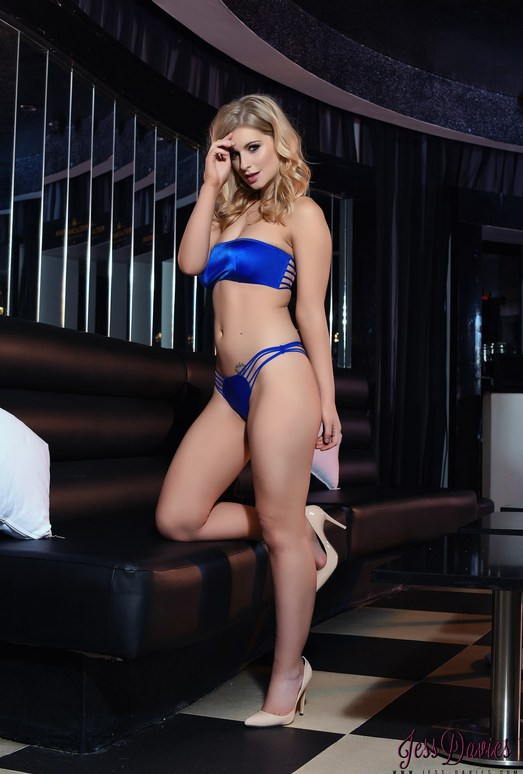 Jess Davies teases in her blue lingerie