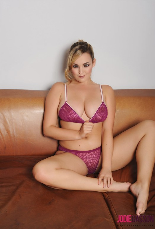 Jodie Gasson teasing in purple lingerie