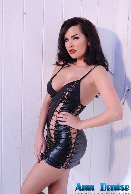 Ann Denise takes off her sexy black PVC outfit