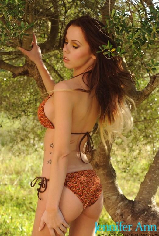 Jennifer teasing outdoors in her bikini
