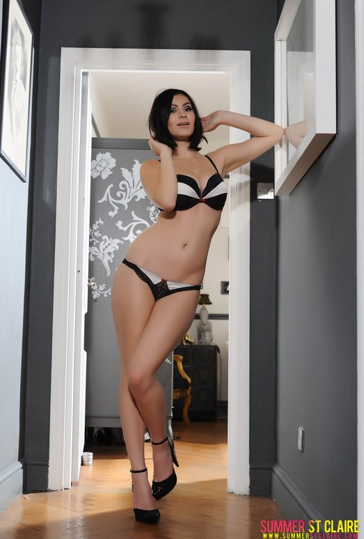Summer teases in her black bras and panties with heels