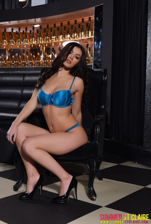 Summer teasing in blue lingerie in the lounge