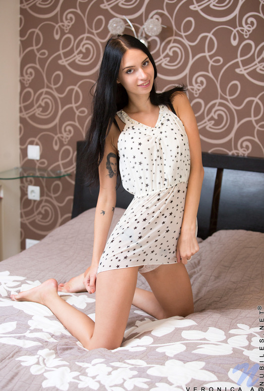 Veronica A - Thin Brunette Teen in the Bedroom
