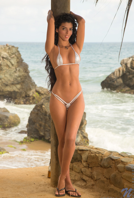 Angela Diaz - long haired bikini babe on the beach