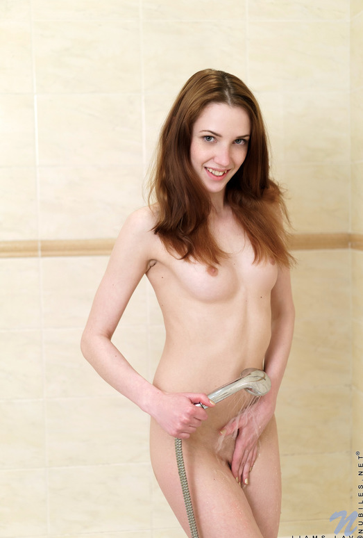 Liams Lav - tiny tits redhead taking a shower