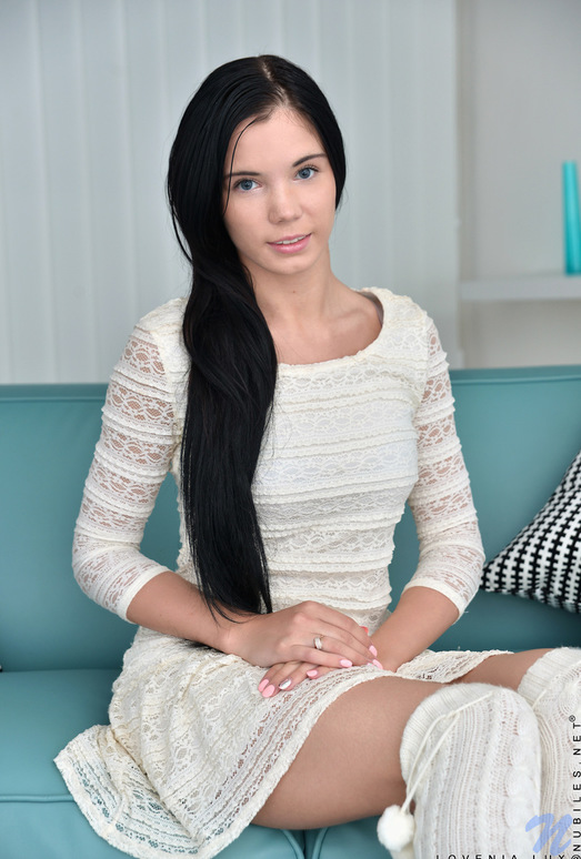 Lovenia Lux - skinny teen playing on the couch