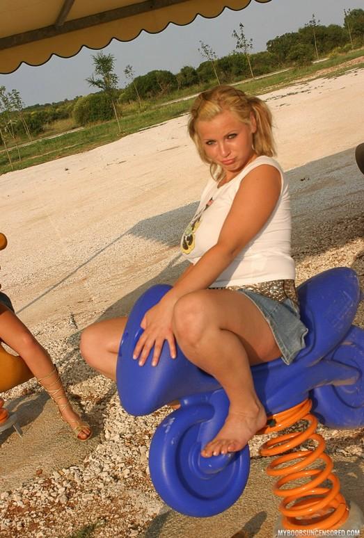Busty Teen Malina May Public Naked On Playground - My Boobs
