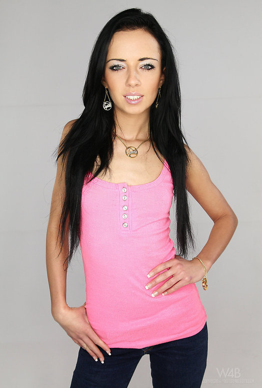 Beautiful brunette teenager Gina Devine masturbating shaved vagina  82204