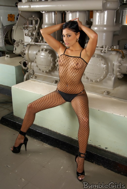 Anetta Keys fishnets in the engine room