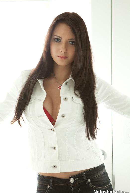Natasha Belle - White Jacket Red Bra