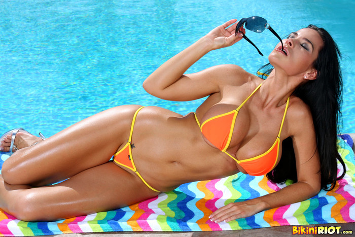 Laura Lee - Sizzling Orange Thong Bikini & Toy