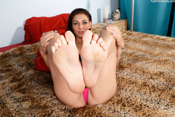 Aimee Black Wraps Her Near Perfect Feet Around a Huge Cock