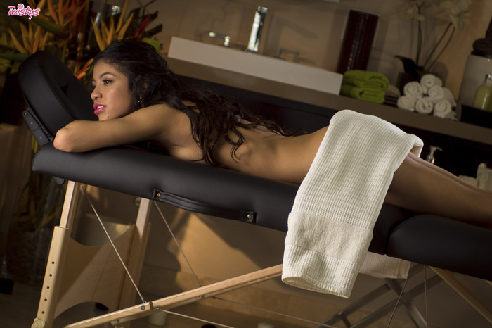 Veronica Rodriguez Bends Over On A Massage Bed