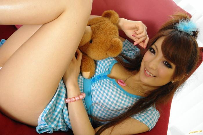 Aiko Nagai Asian babe in sexy dress sucks hard cock