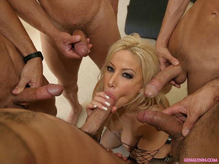 Gina Lynn Blowbanged by five guys