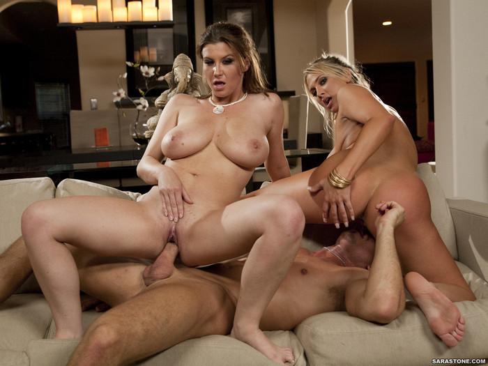Alanah Rae & Sara Stone share a cock
