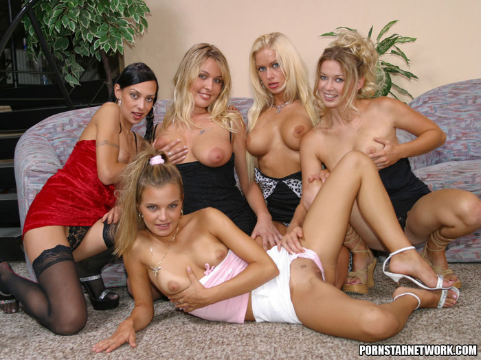 One lucky guy is having sex with five hot girls