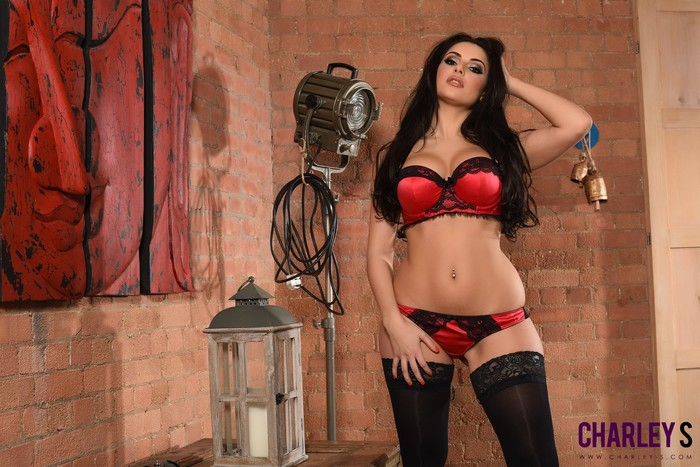 Charley S teasing in her red and black lingerie