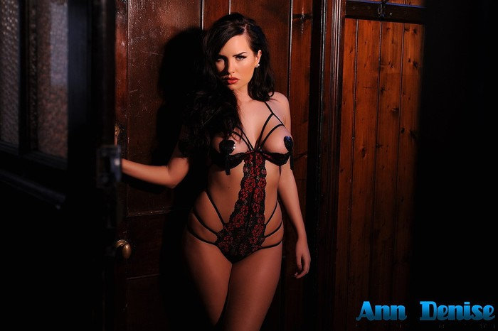Ann Denise wearing black pasties and sexy strap lingerie