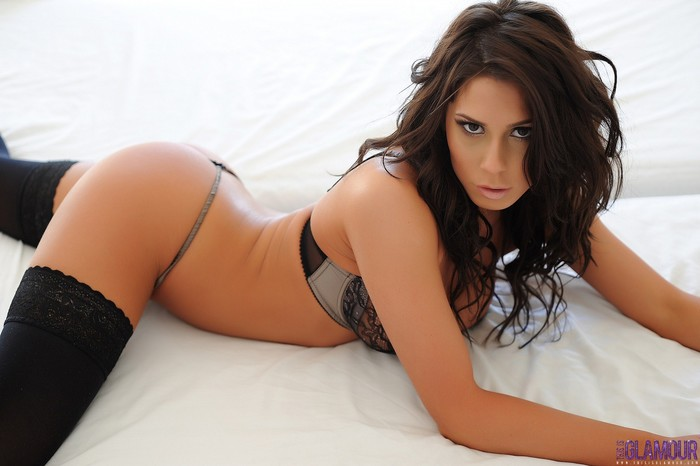 Georgie Serino teasing in black lingerie